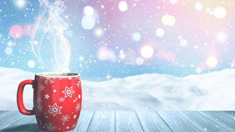 3D render of a Christmas mug on a wooden table against a snowy landscape