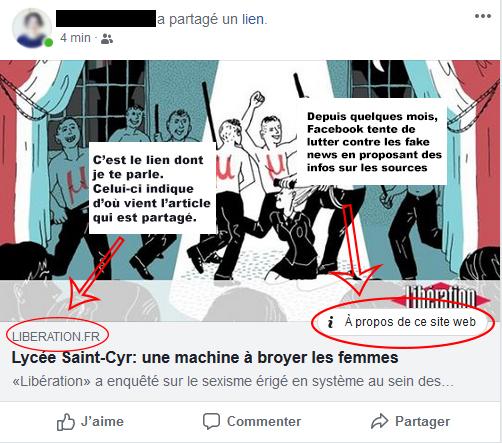 capture d'écran d'un article partagé sur facebook, en 2019